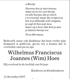 Genealogie Van Tak Berghem Oijen Van Familie Hoes Hoefs